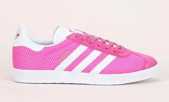 Adidas Originals Sneakers Gazelle en mesh fuschia empiècements en cuir nubuck