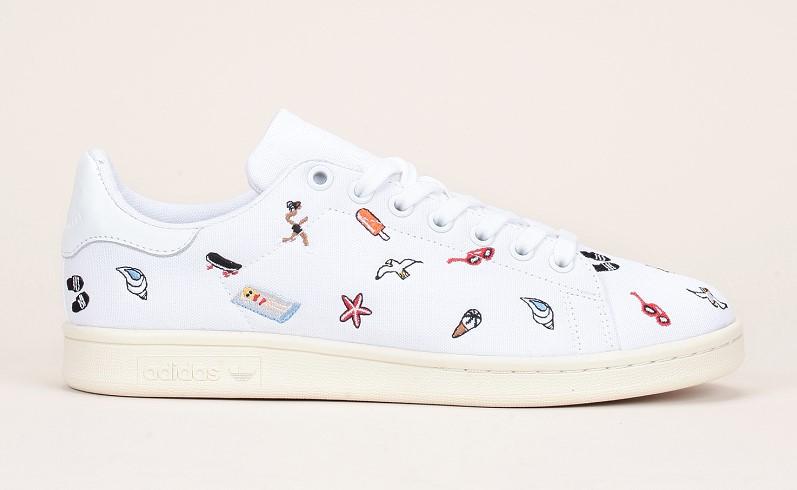 Adidas Originals Stan Smith Sneakers en toile blanc motifs ludiques - Monshowroom
