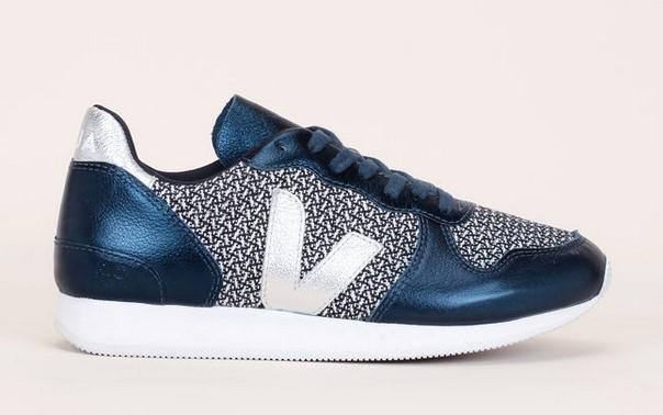 Veja Sneakers multi-matières marine/argent détails tissés - Monshowroom