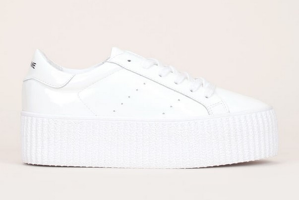 No Name Wild Sneakers plateformes en cuir vernis blanc - Monshowroom