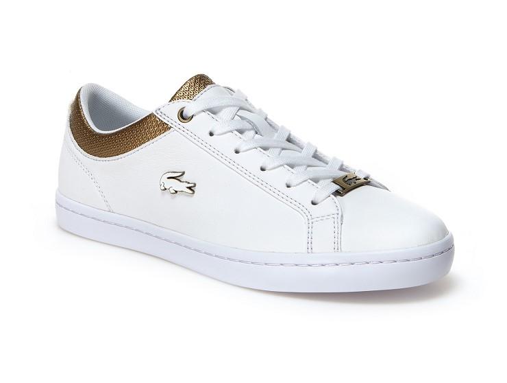 Sneakers Straightset Lacoste en cuir froissé pour Femme