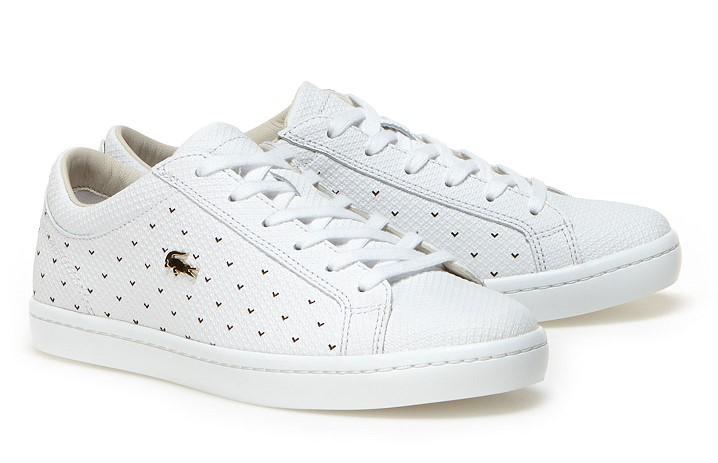 Sneakers Straightset Lacoste en cuir piqué punché - Baskets Femme Lacoste