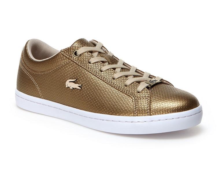 Sneakers Straightset Lacoste en cuir et piqué résille pour Femme