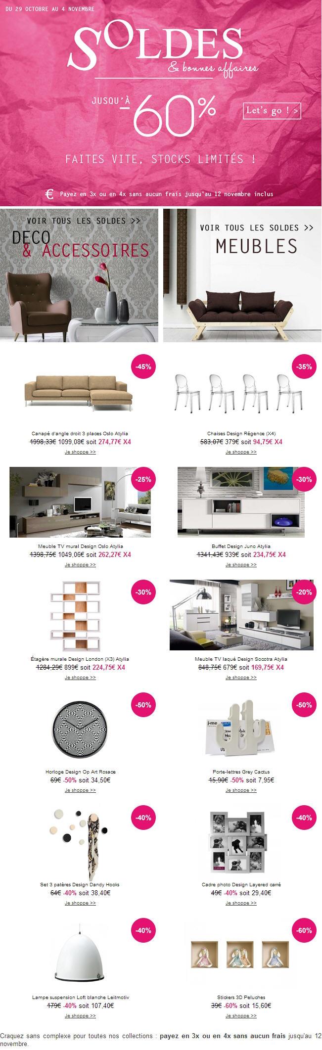 soldes atylia soldes meubles et d coration atylia jusqu 39 60 ventes pas. Black Bedroom Furniture Sets. Home Design Ideas