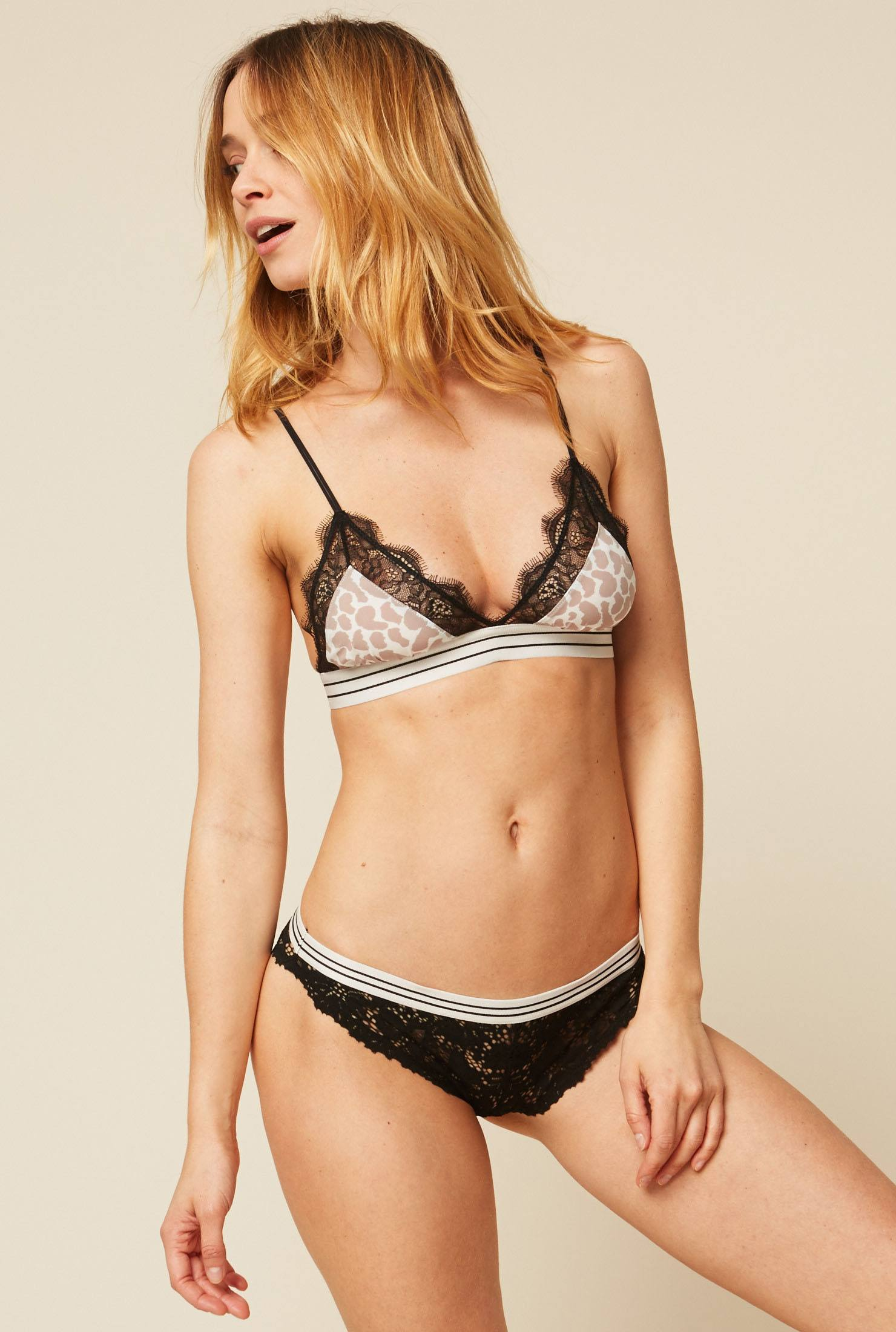 Love Stories Love Lace Soutien gorge triangle imprimé animal avec dentelle rose