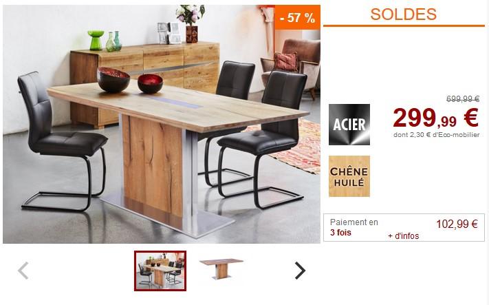 Table à manger IPANEMA Chêne huilé et Acier 6 couverts pas cher - Soldes  Table à manger Vente Unique 1cc3534f0305