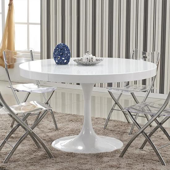 Table à manger ronde design Isola blanche pas cher - Table à manger ...