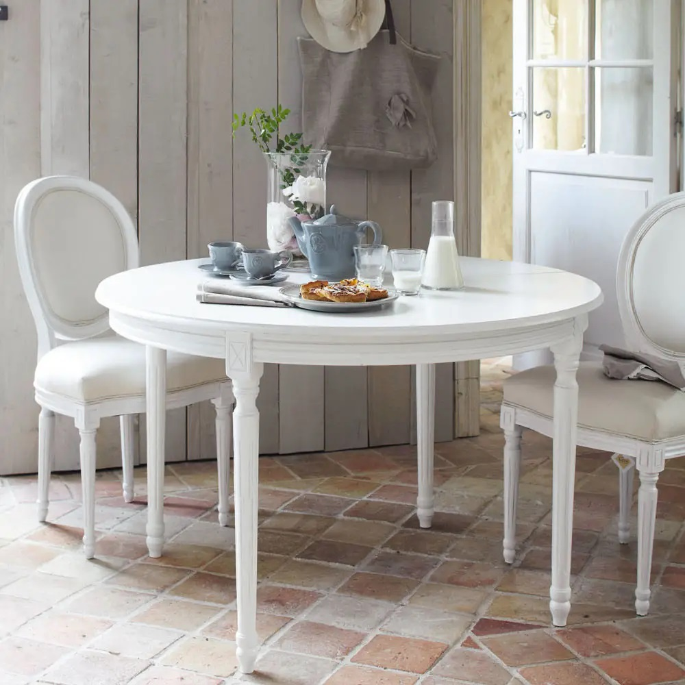 Table A Manger Ronde Extensible Louis Blanche 4 A 8 Personnes