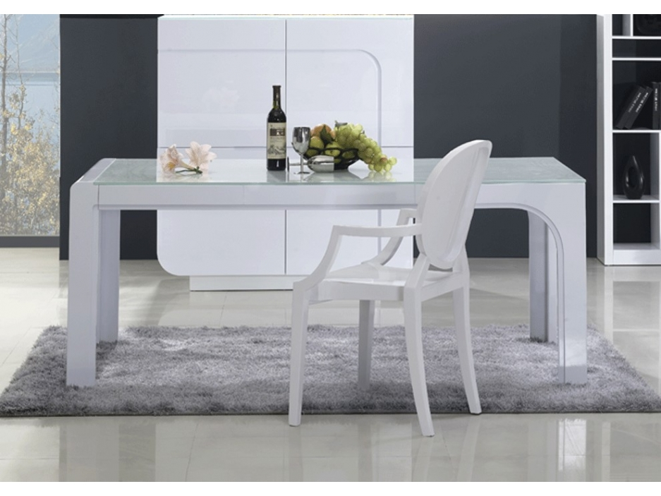 Table manger odessa mdf laqu blanc prix 349 99 euros for Table a manger laque blanc pas cher