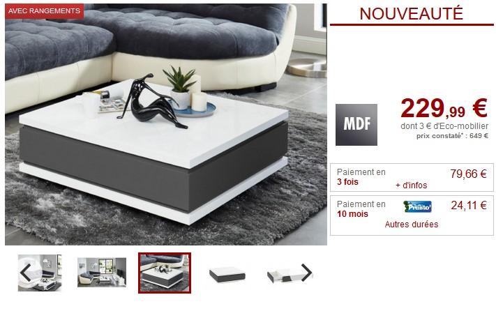 Table basse ALCIDE 2 tiroirs MDF laqué blanc et gris - Vente Unique