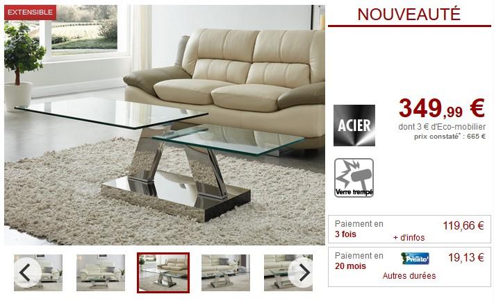 Table basse plateaux pivotants OYRUS verre trempé et métal - Vente Unique