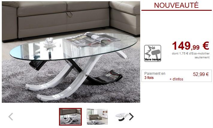 Table basse INFINITY II Verre trempé Noir et blanc - Vente Unique