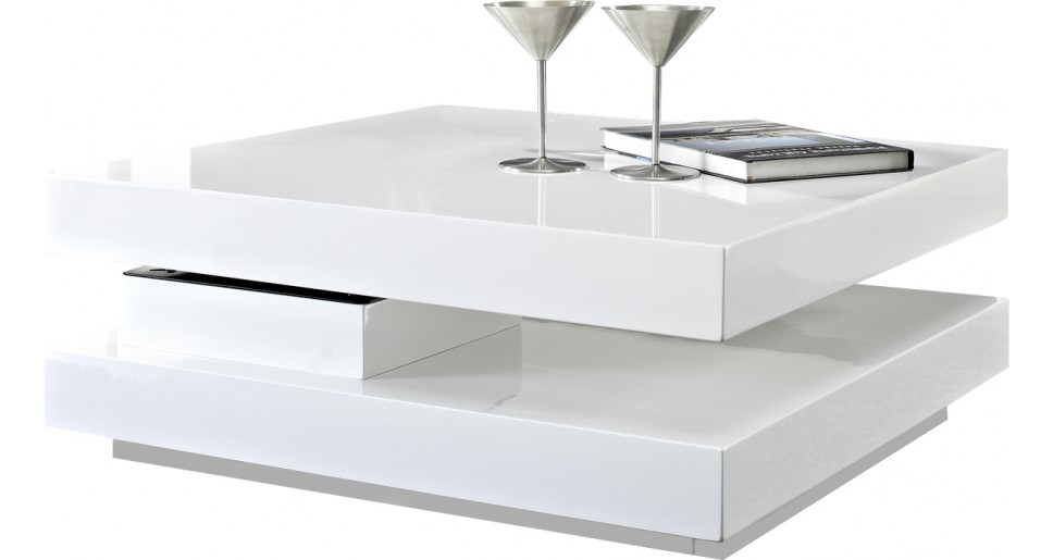 Table basse carr e plateau pivotant blanche table basse destock meubles v - Table carree blanche laquee ...