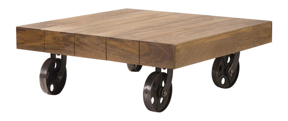 Table basse design industriel carr e atelier roulettes - Table basse design industriel ...