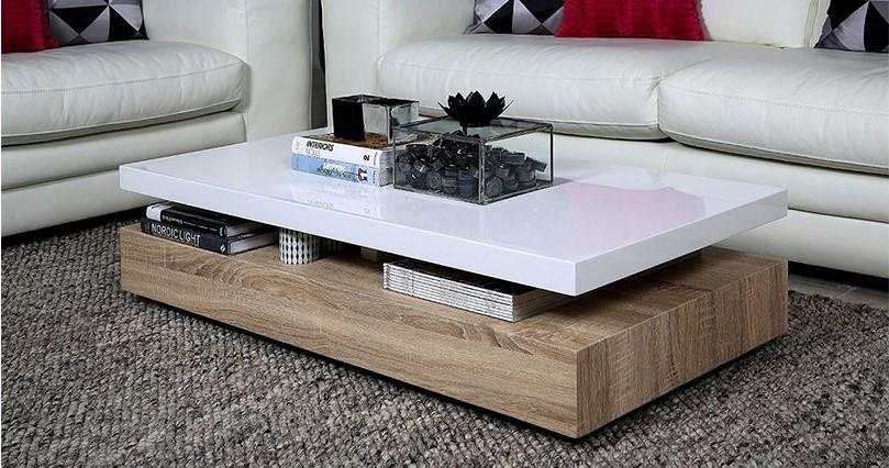 Table Basse Design Sonoma Laquee Blanc Brillant Et Bois Pas Cher