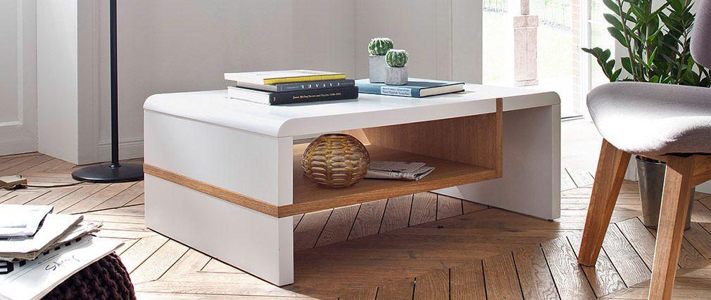 Table basse design INSERT laquée blanc et plaquage chêne