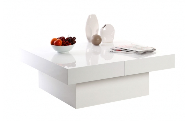 Miliboo table basse design laureen plateaux ouvrants for Table basse laquee blanc pas cher