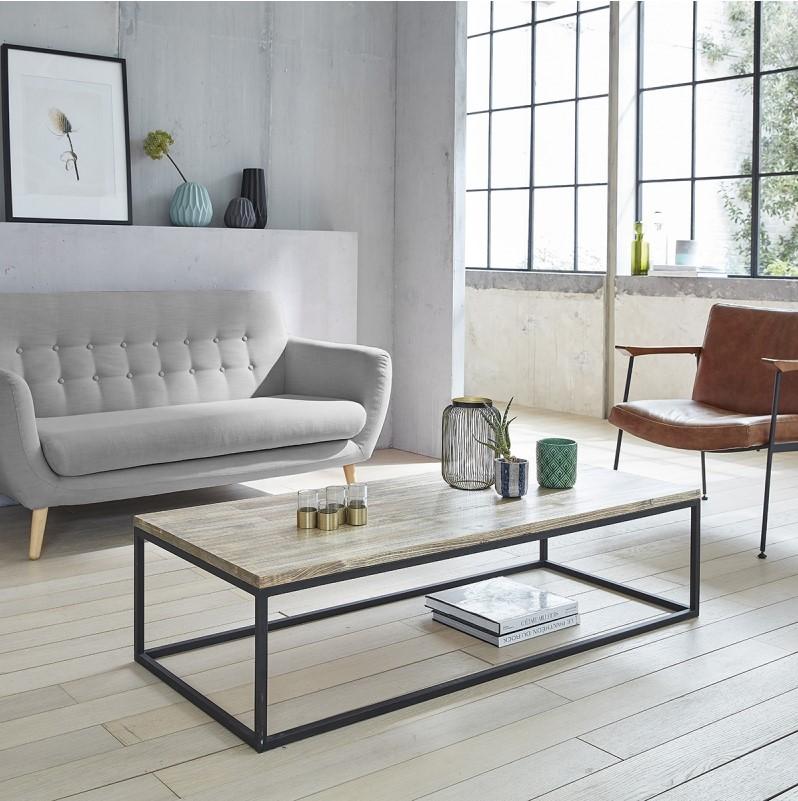Table basse en bois d'hévéa et métal 140 - Table Basse Bois dessus bois dessous