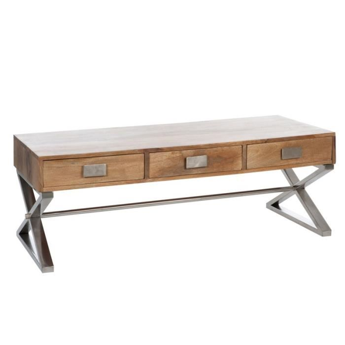 Table basse cdiscount pas cher table basse en bois ken for Table basse industrielle pas cher