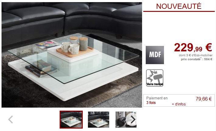 Table basse ISANIA Verre trempé et MDF blanc - Vente Unique