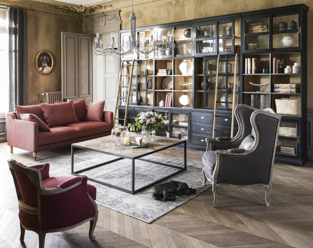 Table basse marquetée Camus en orme recyclé et métal noir - Maisons du Monde