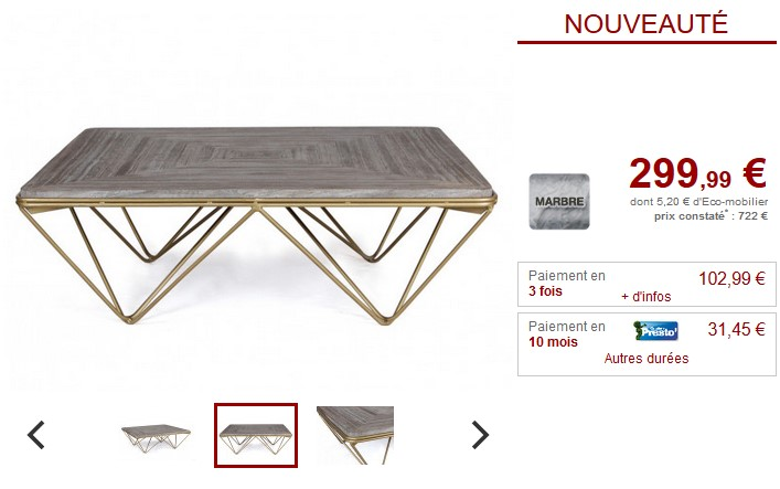 table basse design melvina marbre gris et m tal dor table basse vente unique ventes pas. Black Bedroom Furniture Sets. Home Design Ideas