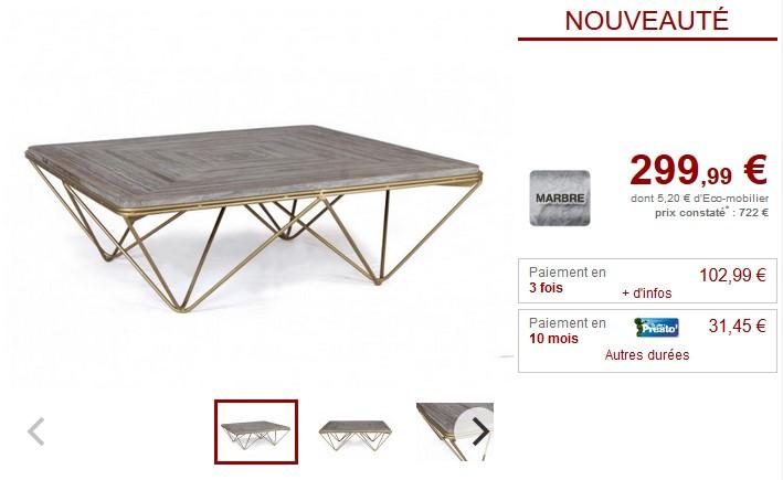 Table basse design MELVINA Marbre gris et métal doré - Vente Unique