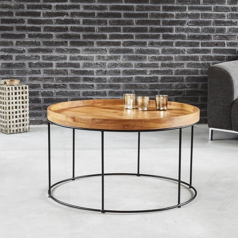 Table basse ronde en bois de teck et métal - Table Basse Bois dessus bois dessous