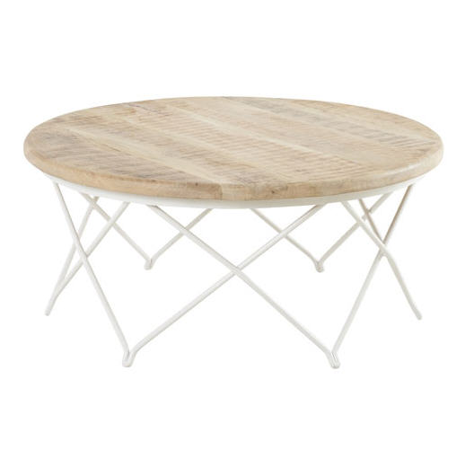 table basse ronde en manguier naturel et fer blanc biarritz hanjel table basse decoclico. Black Bedroom Furniture Sets. Home Design Ideas