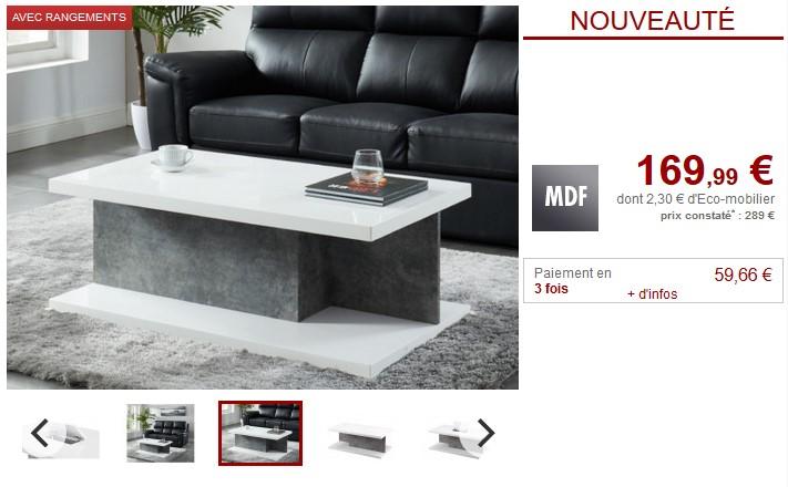 Table basse avec coffre TIARA en MDF Blanc laqué et gris - Vente Unique