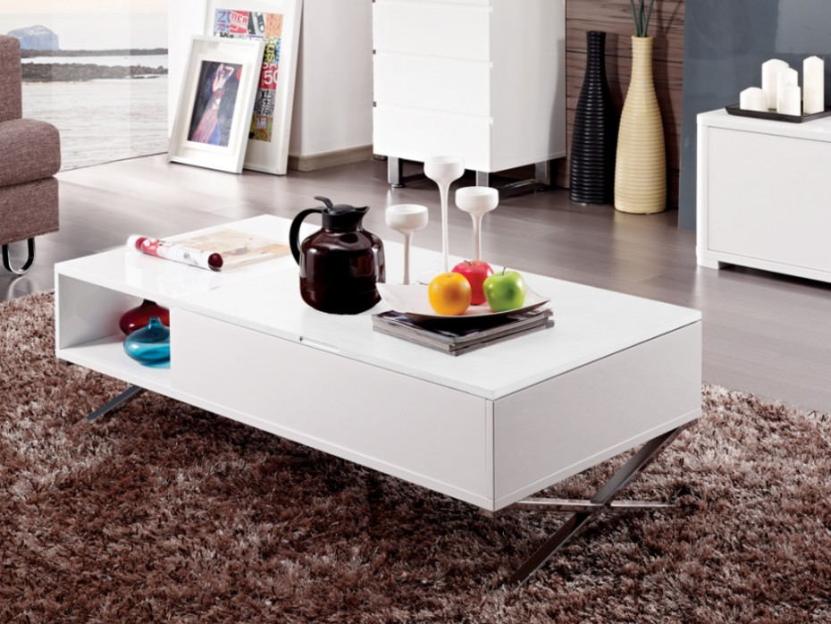 table basse wax mdf laqu blanc table basse vente unique. Black Bedroom Furniture Sets. Home Design Ideas
