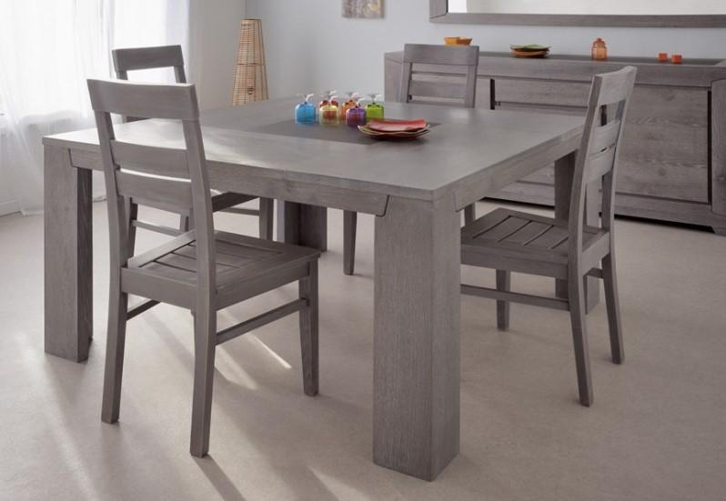 LAST MEUBLES Table carrée Sydney Gris