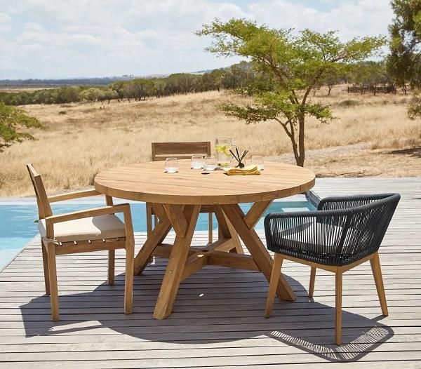 Table de jardin ronde Tecka 6 personnes en teck recyclé - Table de jardin  Maisons du Monde - Ventes-pas-cher.com