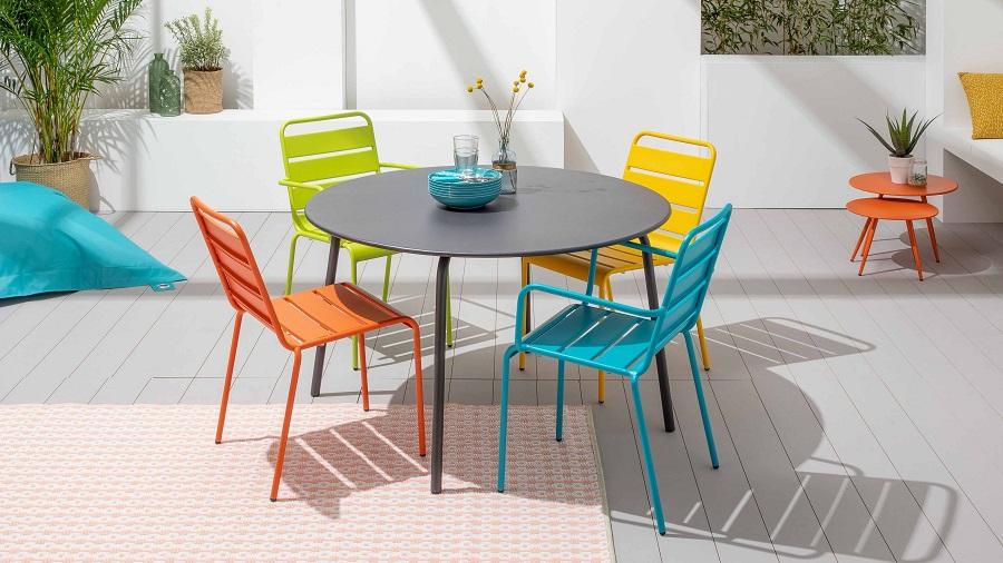 Table de jardin ronde Palavas et 6 fauteuils en acier Gris - ManoMano