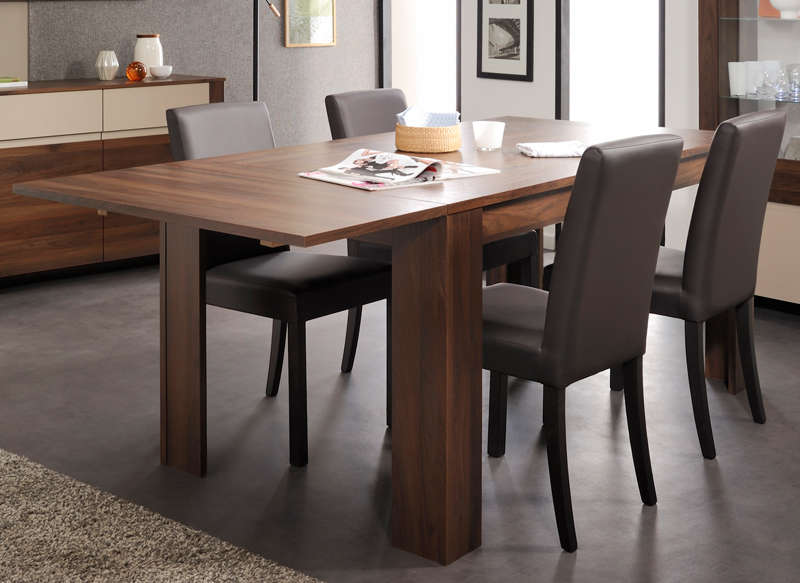 table extensible salle manger salvador noyer pas cher. Black Bedroom Furniture Sets. Home Design Ideas