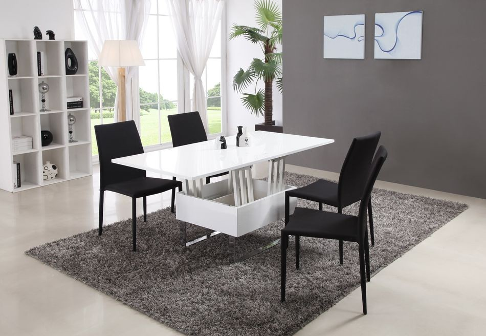 Table basse relevable et extensible modulo laqu e blanc for Table basse industrielle pas cher