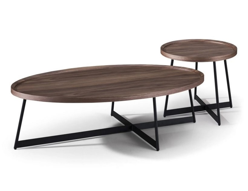Tables gigognes ovales Wyatt imitation noyer et métal noir - Maisons du Monde