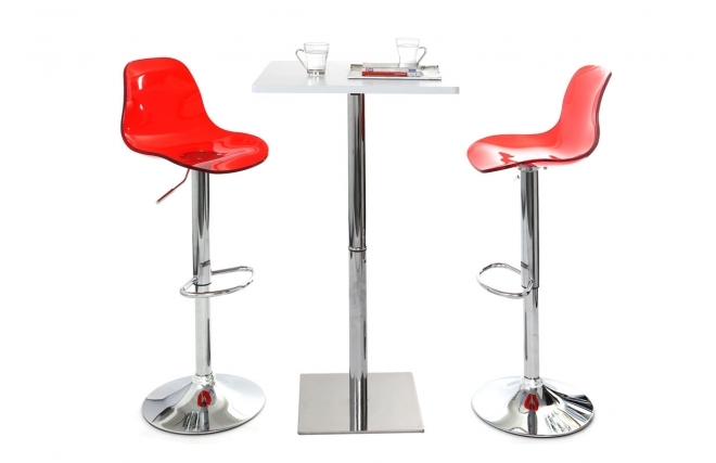 Tabouret de bar design galileo rouge transparent tabouret - Tabouret plastique empilable pas cher ...