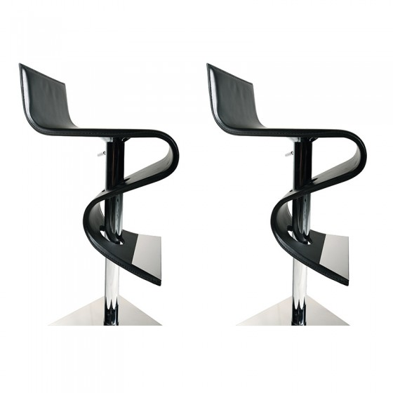 Tabourets de bar design minneapolis en cuir noir atylia - Tabouret de bar en cuir ...