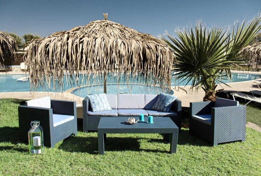Salon de jardin Tropea 5 places résine tressée gris anthracite - Concept Usine