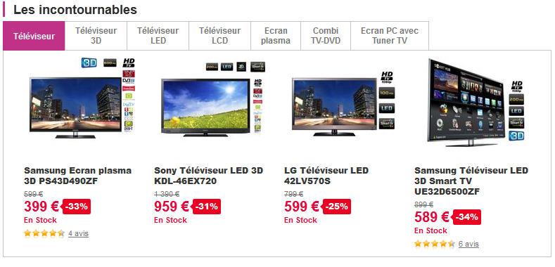 S lection de tv led prix discount chez pixmania ventes for Site recherche hotel pas cher