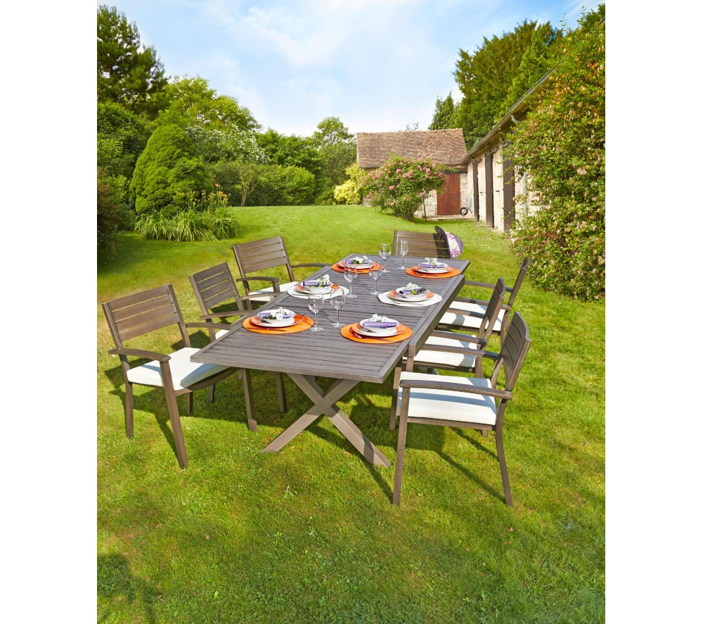 Carrefour table de jardin extensible honfleur table de for Catalogue jardin gamma 2015