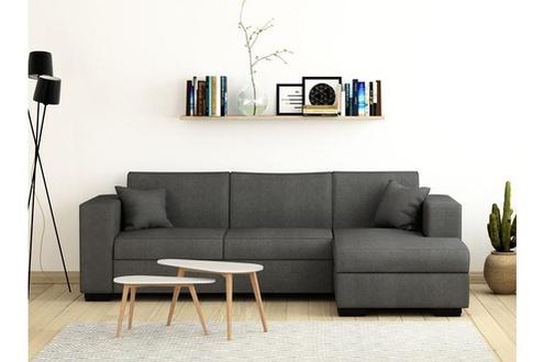 Canapé d'angle convertible UsineStreet Fuji Xl avec coffre tissu gris clair