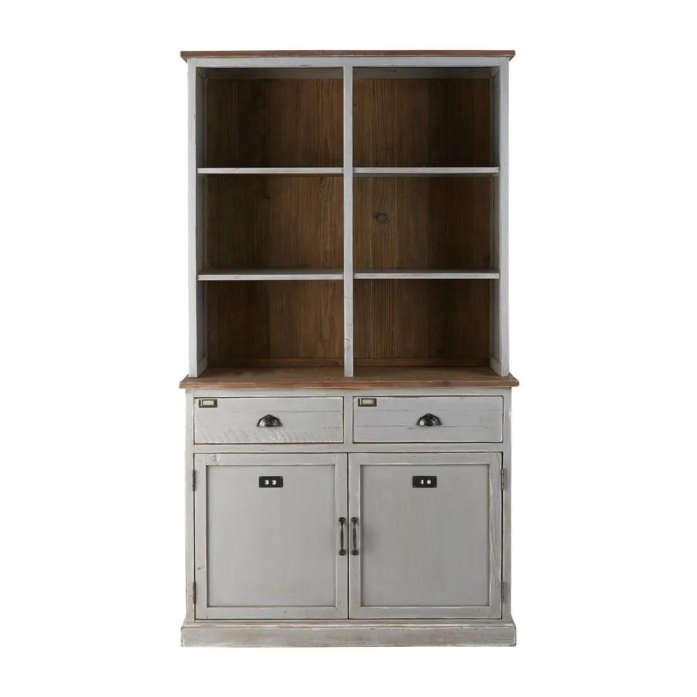 vaisselier blanc pas cher Vaisselier 2 portes 2 tiroirs Ernest en sapin recyclé gris - Soldes  Vaisselier Maisons du Monde