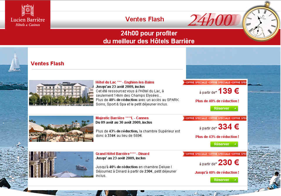 Vente Flash Lucien Barriere Hotel de Luxe à -40%