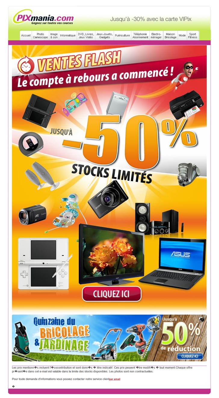 Vente flash pixmania 50 bricolage jardinage 50 ventes pas - Site vente bricolage ...