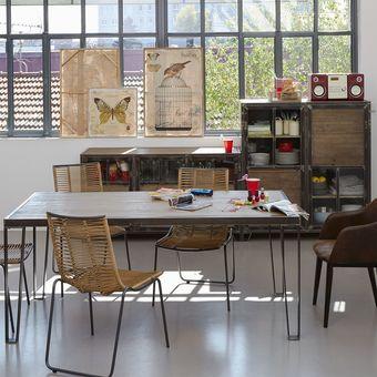 Table De Repas Ware En Acier Et Pin Recycle Table Alinea Ventes Pas Cher Com