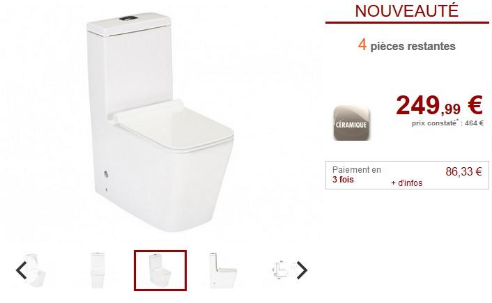 WC posé HISOKA avec abattant plat blanc