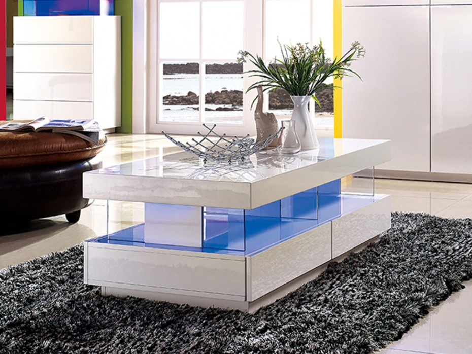 Table basse fabio mdf laqu blanc leds table basse vente unique ventes pas - Table basse relevable blanc laque ...
