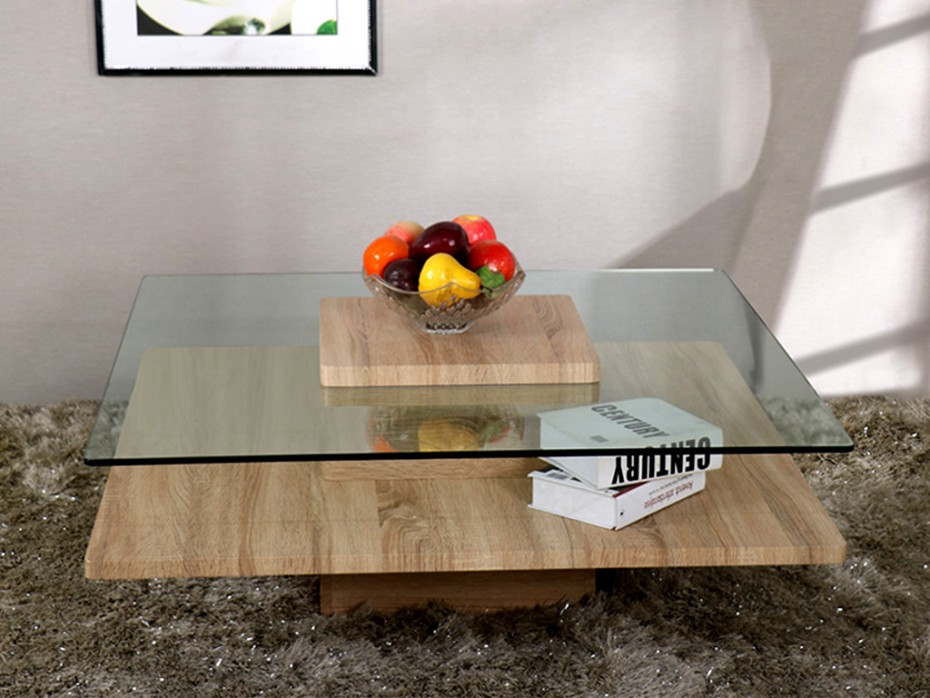 Table basse asnia verre tremp mdf ch ne table basse - Table basse en verre pas cher ...